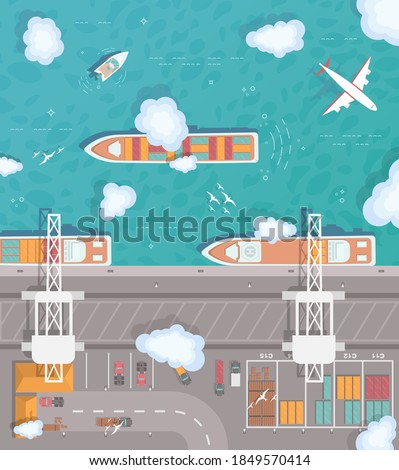 Illustration of a cargo port in flat style. Top view. Container ship, cargo ship, yacht, boat and harbor, industry shipping transport, crane and dock vector. Plane flies over the ocean.