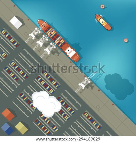 illustration of a cargo port in