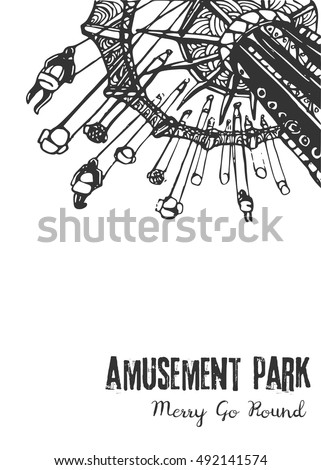 Illustration of a Carousel Ride on a White Background/Blank for your design with carousel spinning, children's entertainment