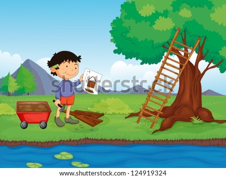Illustration of a carpenter with a sketch plan of the tree house