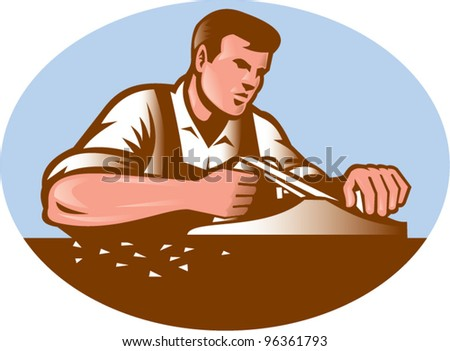 Illustration of a carpenter working with smooth plane done in retro woodcut style set inside ellipse. - stock vector