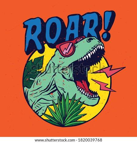 Illustration of a cartoon dinosaur with leaf. Vector illustration . For kids t-shirt. Illustration of roaring dinosaur wearing sunglasses