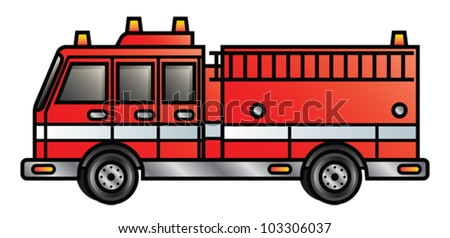 Illustration of a cartoon fire engine. Eps 10 Vector.