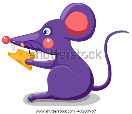illustration  of a cartoon mouse eating a piece of cheese - stock vector