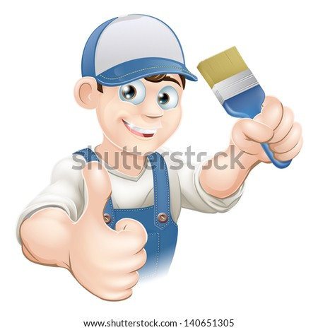 Illustration of a cartoon painter or decorator holding a paintbrush and giving a thumbs up