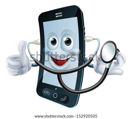 Illustration of a cartoon phone character holding a stethoscope - stock vector