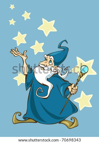 Illustration of a cartoon wizard with a magic stick in his hands