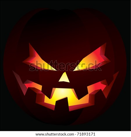Illustration of a carved halloween pumpkin, also known as a jack-o'-lantern, illuminated from within.