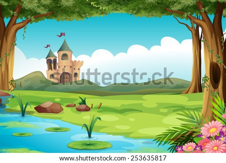 illustration of a castle and a