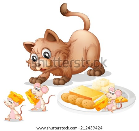 illustration of a cat and mice