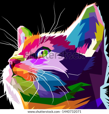 illustration of a cat's face in a pop art style,wpap style.