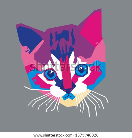illustration of a cat's face in a pop art style,wpap style