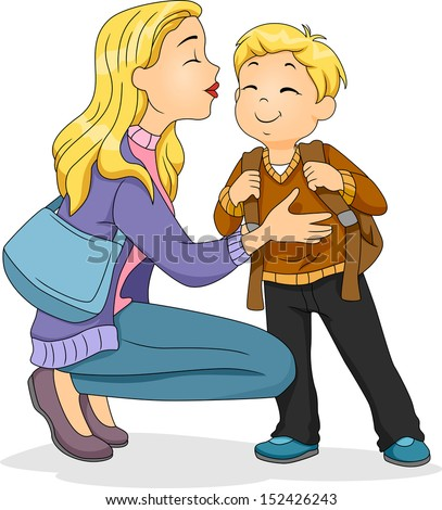 Illustration of a Caucasian Mother Planting a Kiss on Her Son's Cheek