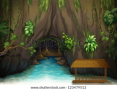 illustration of a cave  a water