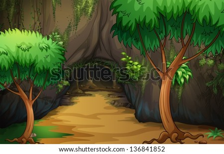illustration of a cave at the