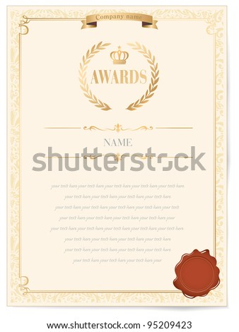 Illustration of a certificate. Award of Excellence with golden ribbon. - stock vector