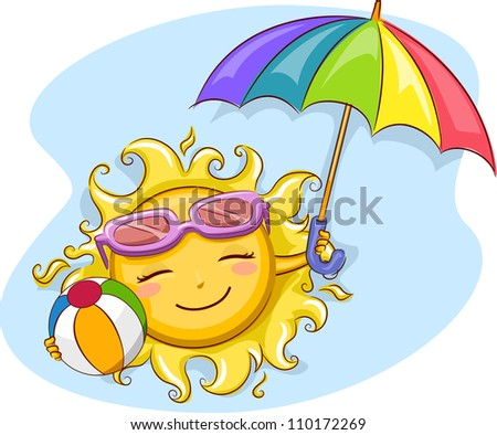 Illustration of a Cheerful Sun Holding a Beach Umbrella and a Beach Ball