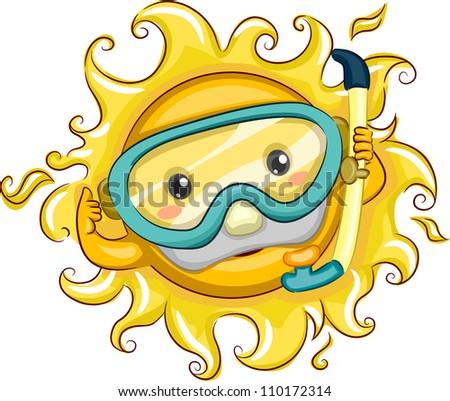 Illustration of a Cheerful Sun Wearing Snorkeling Gear
