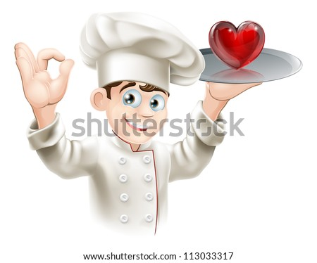 Illustration of a chef holding a heart on a tray, concept for loving food or cooking or putting your heart into cooking