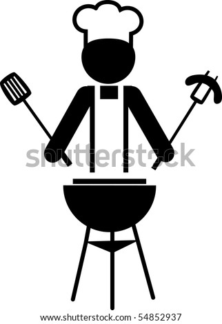 illustration of a  chef making bbq and holding spitted sausage