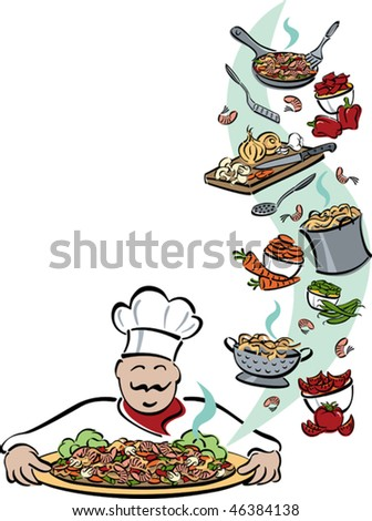 Illustration of a chef presenting a platter of shrimp, pasta and vegetables, with food and tools used for preparation. Space for text on left. Elements are grouped for easy editing.