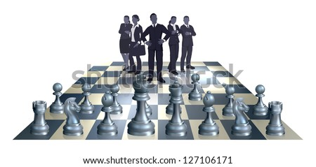 Illustration of a chess business concept. A business team on one side of the chess board playing against chess pieces.