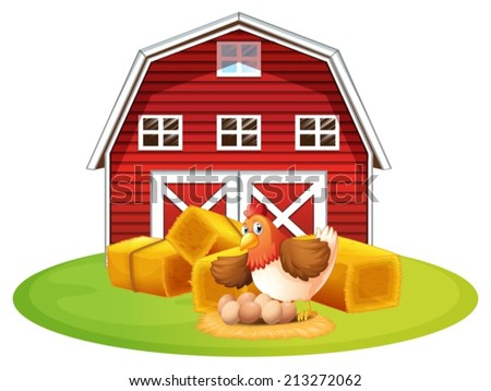 Illustration Of A Chicken And Barn