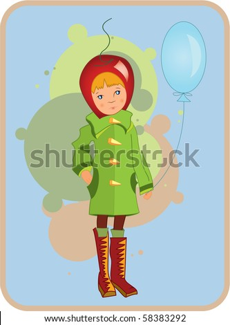 Illustration of  a child in green coat with air balloon in hand