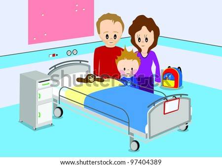 Sick Child In Bed At Hospital Download Free Vector Art Stock