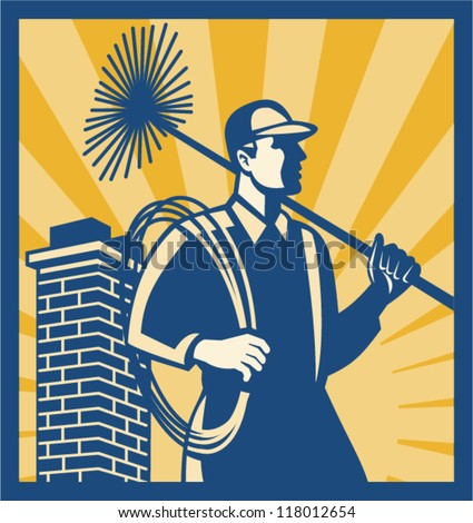 Illustration of a chimney sweeper cleaner worker with sweep broom viewed from side with chimney stack set inside square done in retro style.