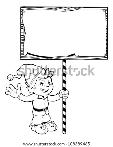 Illustration of a Christmas elf or pixie holding a Christmas sign