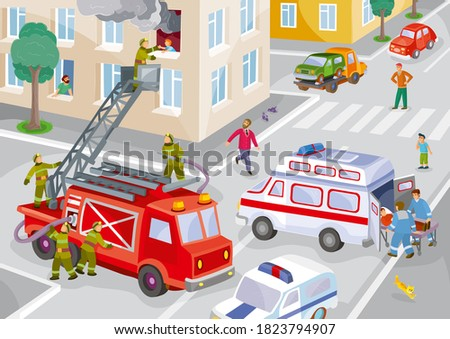 illustration of a city in one house on fire, firefighters rescue a child from the window, an ambulance picks up the wounded, a lot of onlookers, vector, eps Stock fotó ©