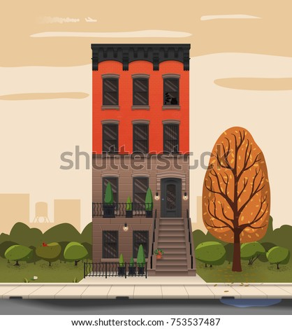 Illustration of a city landscape with townhouse and trees. Flat art style. Housing, real estate market, architecture design, property investment concept banner.