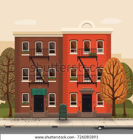 Illustration of a city landscape with townhouses and trees. Flat art style. Housing, real estate market, architecture design, property investment concept banner.