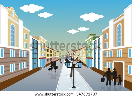 stock vector illustration of a city street in winter with people lights and trees perspective 347691707 - Каталог - 3d фотообои