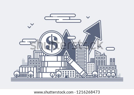Illustration of a city with huge dollar coins and a growing profit chart. Metaphor of income, tourism and tax growth.