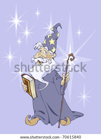 Illustration of a classical wizard with a magic book and stick in his hands
