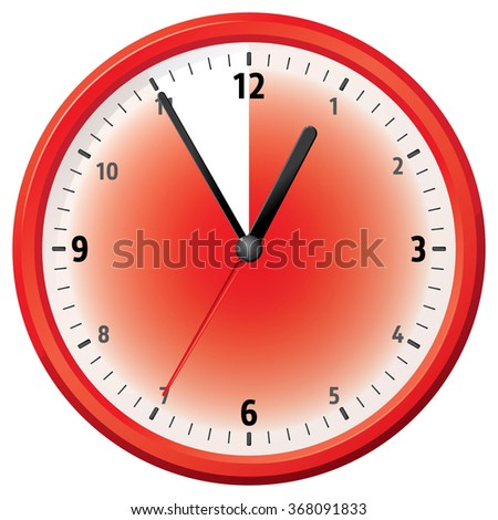 Illustration of a clock at fifty-five minutes. Can be used in ads and institutional