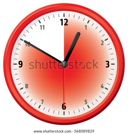 Illustration of a clock at fifty minutes. Can be used in ads and institutional