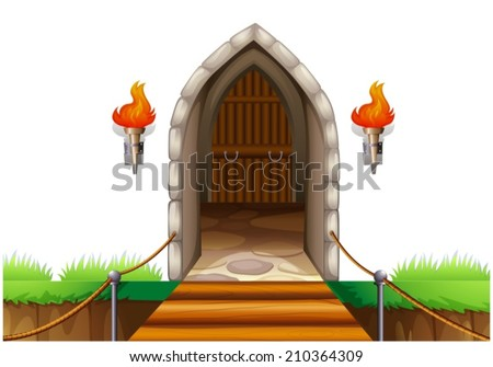 illustration of a closed door