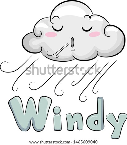 Illustration of a Cloud Mascot Blowing Wind and Windy Lettering Below