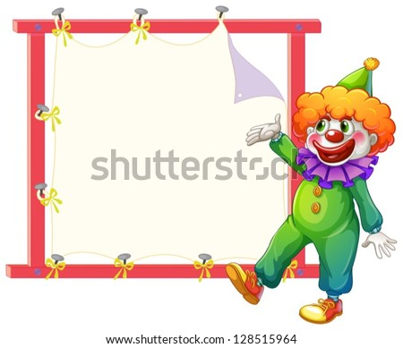 Illustration of a clown beside an empty signage on a white background