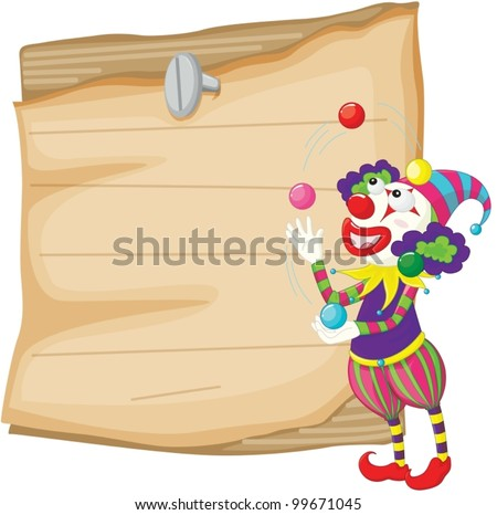 Illustration of a clown in front of paper