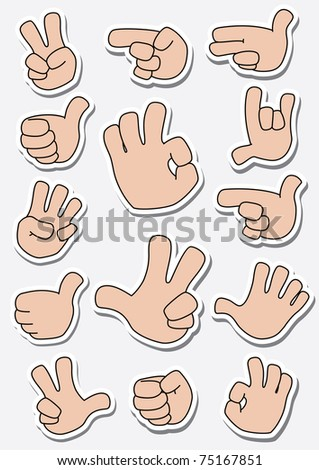illustration of a collection of sticker gestures