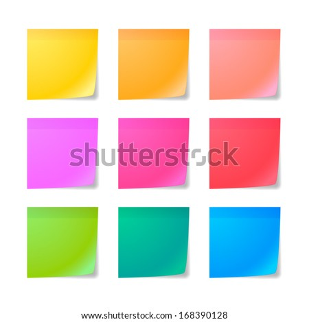 Illustration of a colored set of sticky notes