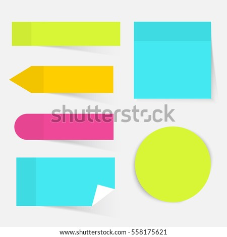 Illustration of a colored set of sticky notes. Flat design modern vector business concept.