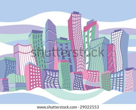 city skyline cartoon. of a colorful cartoon city