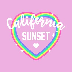 ILLUSTRATION OF A COLORFUL HEART WITH STARS AND TEXT, CALIFORNIA SUNSET TYPOGRAPHY, SLOGAN PRINT VECTOR