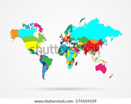 Illustration of a colorful world map isolated on a white background. #274504109