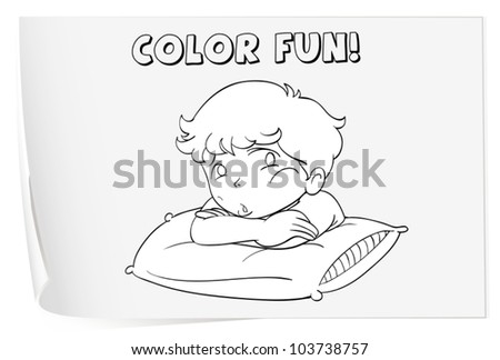 Illustration of a colouring worksheet (boy)
